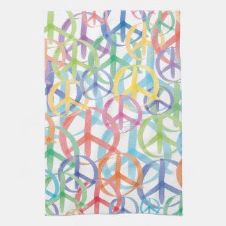 Arte de los símbolos de paz toalla de mano