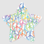 Arte de los símbolos de paz pegatina en forma de estrella
