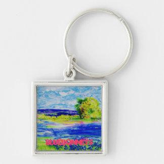 arte de los wildflowers del bluebonnet llavero cuadrado plateado