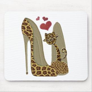 Arte de los zapatos y del gato del estilete del alfombrilla de ratones