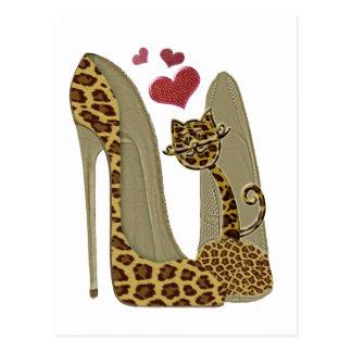 Arte de los zapatos y del gato del estilete del postal