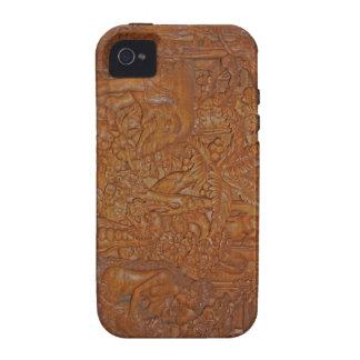 Arte de madera de Bali iPhone 4 Fundas