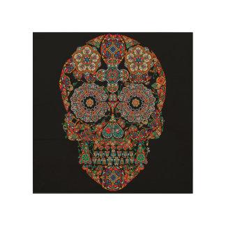 Arte de madera de la pared del cráneo colorido del cuadros de madera