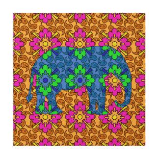 Arte de madera de la pared del elefante colorido impresiones en madera