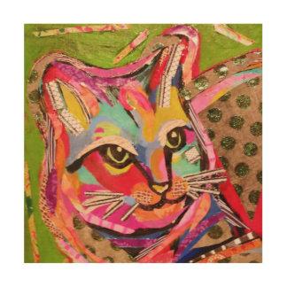 Arte de madera de la pared del gato de calicó impresión en madera
