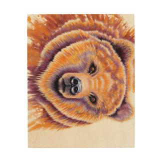 Arte de madera de la pared del oso grizzly cuadros de madera