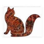 arte de madera del batik del gato postal