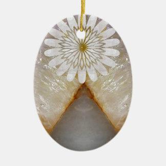 Arte de mármol cristalino del templo del vintage adorno navideño ovalado de cerámica