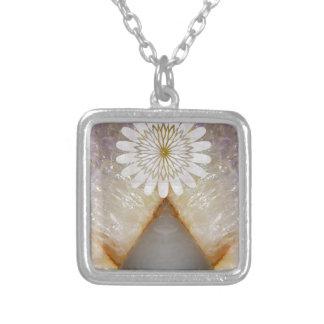 Arte de mármol cristalino del templo del vintage d colgante cuadrado