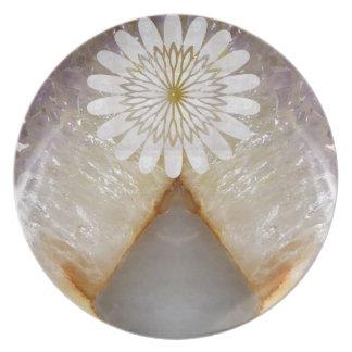 Arte de mármol cristalino del templo del vintage d plato para fiesta
