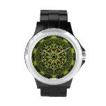 Arte de mármol verde del fractal relojes de mano