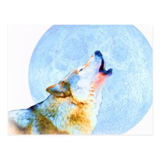 Arte de medianoche de la luna del aullido tarjetas postales