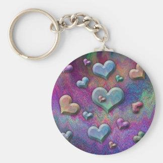 Arte de mirada metálico multicolor de los corazone llavero redondo tipo pin