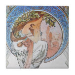 Arte de Mucha del vintage Azulejo Cuadrado Pequeño