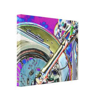 Arte de neón brillante de la motocicleta impresiones en lienzo estiradas