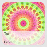 Arte de neón del Hippie del fractal Calcomania Cuadradas Personalizadas