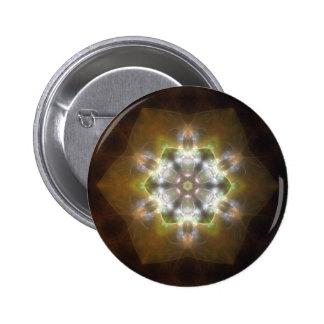 Arte de oro 1 del caleidoscopio del resplandor de  pin redondo de 2 pulgadas