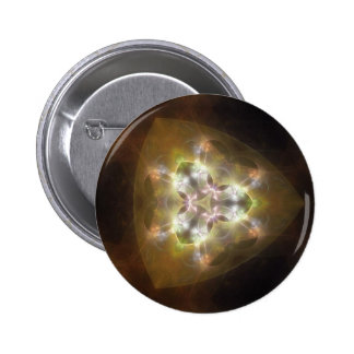 Arte de oro 2 del caleidoscopio del resplandor de  pin redondo de 2 pulgadas