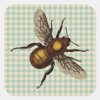 Arte de oro de la abeja pegatinas cuadradases personalizadas