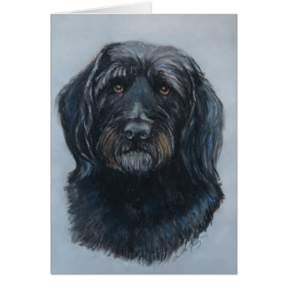 Arte de oro del perro del Doodle de Koda Tarjeta Pequeña