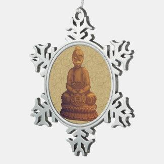 Arte de oro del pixel de Buda Adorno De Peltre En Forma De Copo De Nieve