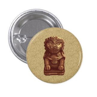 Arte de oro del pixel del perro del león pin redondo 2,5 cm