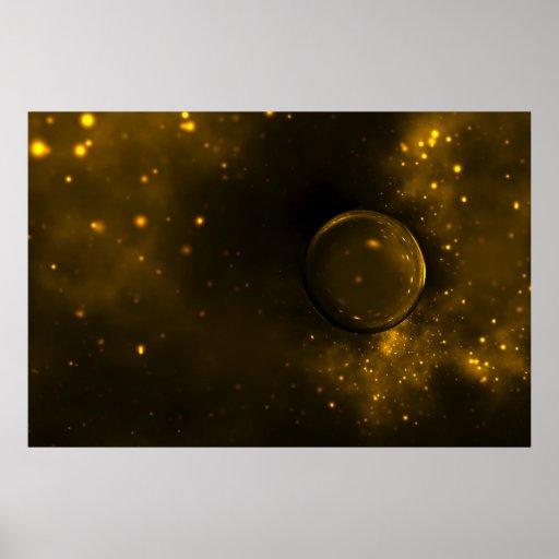 Arte de oro misterioso de Sci Fi de la esfera Posters