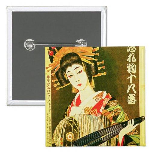 Arte de papel japonés del geisha y del paraguas de pin cuadrado