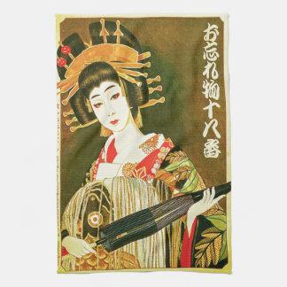 Arte de papel japonés del geisha y del paraguas de toallas