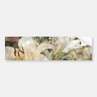 Arte de Pascua del lirio blanco Etiqueta De Parachoque