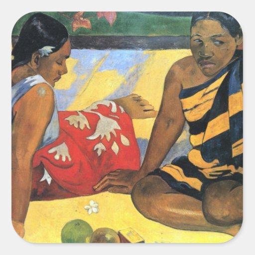 arte de Paul Gauguin Calcomanía Cuadradase