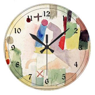 Arte de Paul Klee: Acuarela patética, roja Reloj Redondo Grande