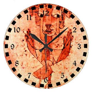 Arte de Paul Klee: Ángelus Novus (nuevo ángel) Reloj Redondo Grande