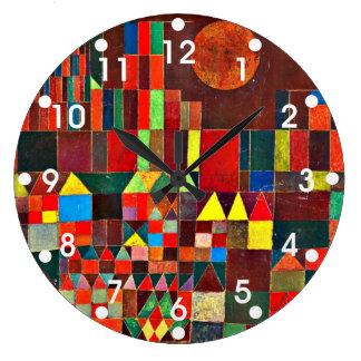 Arte de Paul Klee: Castillo y Sun, pintura de Klee Reloj Redondo Grande
