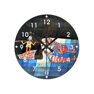 Arte de Paul Klee - el navegante Reloj Redondo Mediano