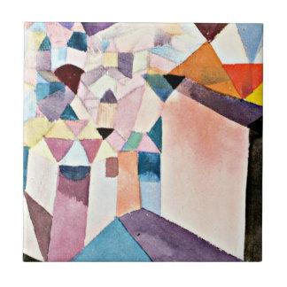 Arte de Paul Klee: Penetración en una ciudad Azulejo Cuadrado Pequeño