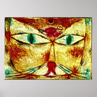 Arte de Paul Klee Pintura del gato y del pájaro p Poster