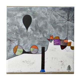 Arte de Paul Klee: Pintura del invierno Azulejo Cuadrado Pequeño