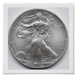 Arte de plata americano de la pared de Eagle Póster