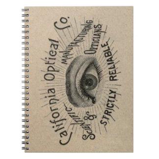 Arte de publicidad antiguo del ojo libros de apuntes