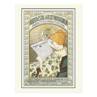 Arte de publicidad del vintage: Periódico holandés Tarjeta Postal