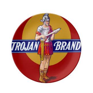 Arte de publicidad romano del vintage del soldado plato de cerámica