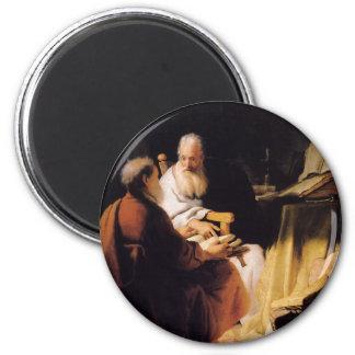 Arte de Rembrandt que pinta la disputa de dos viej Iman Para Frigorífico