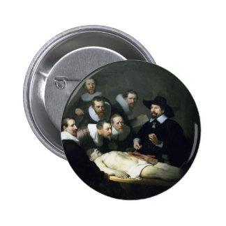 Arte de Rembrandt que pinta la lección de la Pin Redondo De 2 Pulgadas