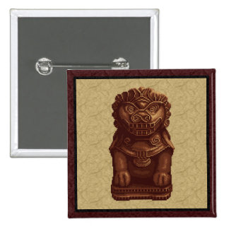 Arte de roble del pixel del perro del león pin cuadrada 5 cm