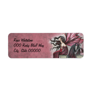 Arte de rubíes agitado de la fantasía de la hada y etiqueta de remite