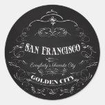 Arte de San Francisco California - la ciudad de Pegatina Redonda