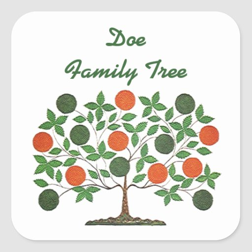 Arte de Scrapbooking de la genealogía del árbol de Pegatina Cuadrada