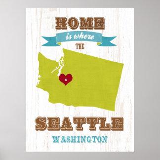 Arte de Seattle del amor del arte del mapa del est Impresiones
