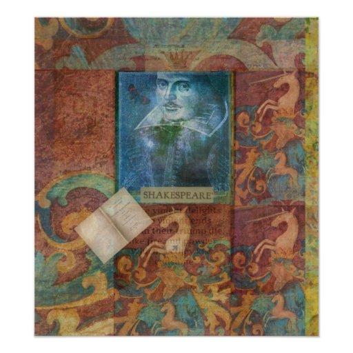 Arte de Shakespeare con el unicornio blanco Poster